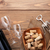 red wine bottle glasses bowl with corks and corkscrew stock photo © karandaev
