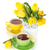 żółty · tulipany · herbaty · cytryny · odizolowany · biały - zdjęcia stock © karandaev