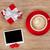 kırmızı · kahve · fincanı · hediye · kutusu · sevmek · mektup - stok fotoğraf © karandaev