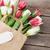 piros · tulipánok · virágcsokor · papírzacskó · fa · asztal · copy · space - stock fotó © karandaev