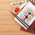 red caviar sushi set sakura branch and chopsticks stock photo © karandaev