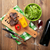 bistecca · alla · griglia · mais · insalata · vino · rosso · tavolo · in · legno - foto d'archivio © karandaev