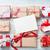 coffrets · cadeaux · Noël · carte · de · vœux · table · en · bois · haut · vue - photo stock © karandaev