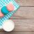 colorido · macaron · bolinhos · copo · leite · mesa · de · madeira - foto stock © karandaev