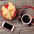 frescos · croissants · café · auriculares · mesa · de · madera - foto stock © karandaev