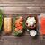 salmón · blanco · mesa · agua · alimentos - foto stock © karandaev