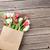 mini · fánkok · papírzacskó · virágok · fehér · asztal - stock fotó © karandaev