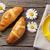 dois · croissants · branco · mesa · de · madeira · tabela · pão - foto stock © karandaev