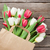 színes · tulipánok · papírzacskó · fából · készült · piros · fehér - stock fotó © karandaev