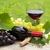 red wine glass and bottle with bunch of grapes stock photo © karandaev