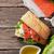 sanduíche · salmão · queijo · topo · ver - foto stock © karandaev