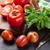 fresh ripe garden tomatoes and basil stock photo © karandaev