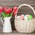 húsvéti · tojások · rózsaszín · tulipánok · virágcsokor · polc · fából · készült - stock fotó © karandaev