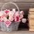 pink tulips bouquet basket and old books stock photo © karandaev