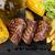 steak with grilled potato corn salad and tomato stock photo © karandaev