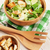 新鮮な · 健康 · シーザーサラダ · 木製のテーブル · 先頭 · 表示 - ストックフォト © karandaev