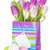 purple tulip bouquet in gift bag and easter eggs stock photo © karandaev