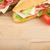 fresco · sanduíches · carne · legumes · tomates · mesa · de · madeira - foto stock © karandaev