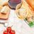 branco · vinho · tinto · óculos · queijo · pão · mesa · de · madeira - foto stock © karandaev