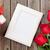 fényképkeret · vörös · rózsák · valentin · nap · ajándék · ajándék · doboz · fa · asztal - stock fotó © karandaev