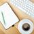 teclado · xícara · de · café · mesa · de · madeira · negócio - foto stock © karandaev