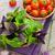 fresco · agricultores · tomates · manjericão · mesa · de · madeira · tabela - foto stock © karandaev