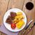 biefstuk · gegrild · aardappel · mais · salade · rode · wijn - stockfoto © karandaev