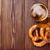 beer mug and pretzel on wooden table stock photo © karandaev