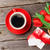 red tulips coffee cup and gift box stock photo © karandaev
