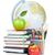 escuela · libros · manzana · pizarra · pequeño · atlas - foto stock © karandaev