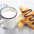 vers · croissants · melk · mand · houten · tafel · voedsel - stockfoto © karandaev