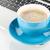 kék · kávéscsésze · laptop · közelkép · fehér · számítógép - stock fotó © karandaev