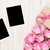 pink roses and valentines day gift box and two blank photo frame stock photo © karandaev