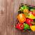 friss · színes · paprika · doboz · fa · asztal · felső - stock fotó © karandaev