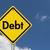 dívida · aviso · placa · sinalizadora · pôr · do · sol · céu · dinheiro - foto stock © karenr