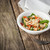 salad with shrimps croutons and greens on the wooden table ho stock photo © karpenkovdenis