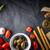 olasz · étel · keverék · fekete · kő · asztal · felső - stock fotó © Karpenkovdenis