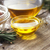 olive oil in the glass bowl on wooden table horizontal stock photo © karpenkovdenis