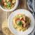 spagetti · húsgombócok · fehér · tányér · paradicsomszósz · tészta - stock fotó © karpenkovdenis