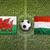 país · de · gales · vs · Hungria · bandeiras · campo · de · futebol · verde - foto stock © kb-photodesign