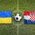Ucrânia · vs · Croácia · bandeiras · campo · de · futebol · verde - foto stock © kb-photodesign