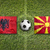 Albania vs. Macedonia flags on soccer field stock photo © kb-photodesign