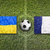 Ukraine vs. France flags on soccer field stock photo © kb-photodesign