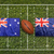 Australia vs. New Zealand flags on green rugby fieldAus stock photo © kb-photodesign