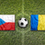 czech republic vs romania flags on soccer field stock photo © kb-photodesign