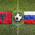 Albania vs. Russia flags on soccer field stock photo © kb-photodesign