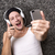 Attractive man with headphones makes selfie with his mobile stock photo © kb-photodesign