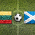 lithuania vs scotland flags on soccer field stock photo © kb-photodesign