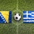 Bosnië-Herzegovina · vs · Griekenland · vlaggen · voetbalveld · groene - stockfoto © kb-photodesign