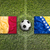 belgium and bosnia and herzegovina flags on soccer field stock photo © kb-photodesign